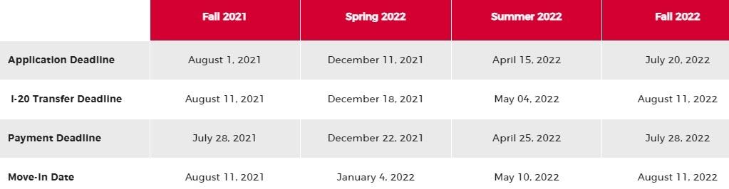 deadline undergraduate program