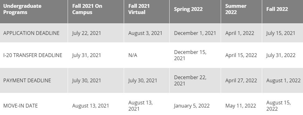 deadline undergraduate